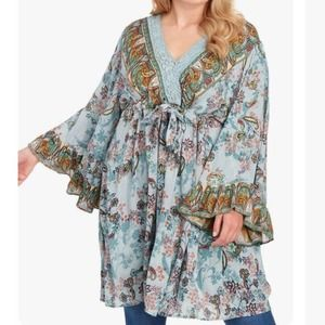 Angie Blue Floral Lace Neck Tunic Dress